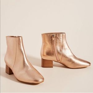 Anthropologie Pippa Rose Gold Ankle Boots